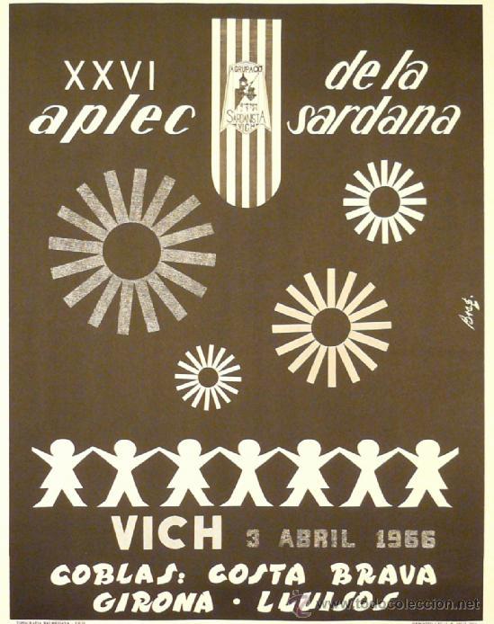 CARTEL XXVI APLEC DE LA SARDANA VICH- VIC (Coleccionismo - Carteles Gran Formato - Carteles Circo, Magia y Espectáculos)