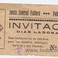 Carteles Espectáculos: FALLAS DE VALENCIA. INVITACIÓN DE LA JUNTA CENTRAL FALLERA AL PABELLÓN DE LA FERIA. Lote 37392540