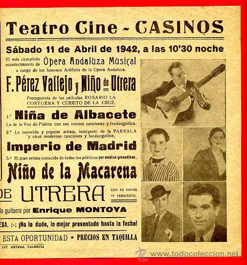 Carteles Espectáculos: CARTEL OPERA ANDALUZA MUSICAL, NIÑO LA MACARENA, NIÑO UTRERA, CASINOS VALENCIA 1942 ,ORIGINAL, Y518 - Foto 2 - 37732420