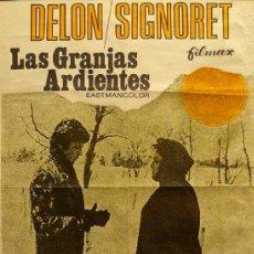 Carteles Espectáculos: CARTEL LAS GRANJAS ARDIENTES. ALAIN DELON / SIMONE SIGNORET. Lote 57068566