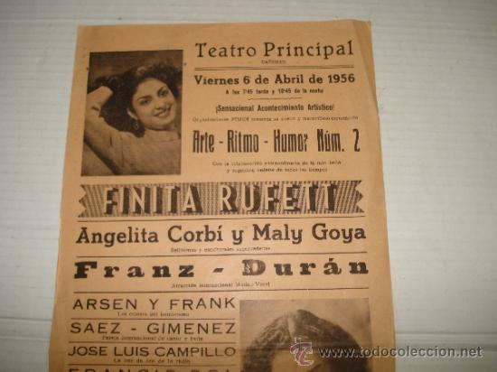 Carteles Espectáculos: Folleto Espectaculo ** ARTE RITMO HUMOR ** con FINITA RUFETT Teatro PRINCIPAL de BAÑERES 1956 - Foto 3 - 38870286