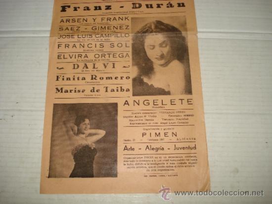 Carteles Espectáculos: Folleto Espectaculo ** ARTE RITMO HUMOR ** con FINITA RUFETT Teatro PRINCIPAL de BAÑERES 1956 - Foto 2 - 38870286