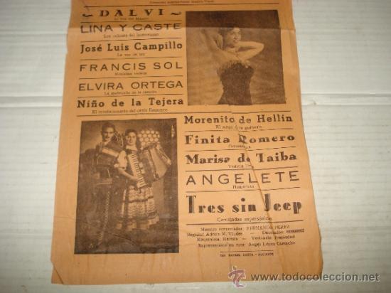 Carteles Espectáculos: Folleto Espectaculo ** KOCTAIL DE MELODÍAS ** con ANGELITA CORBÍ Teatro PRINCIPAL de BAÑERES 1956 - Foto 3 - 38869346