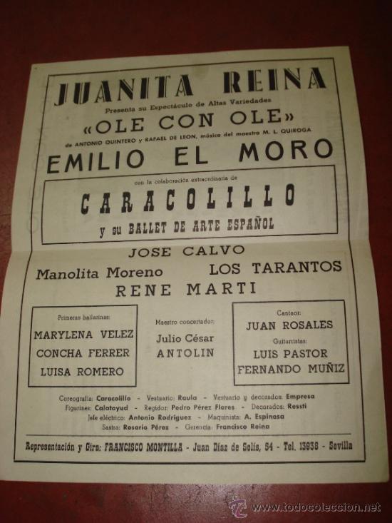 Carteles Espectáculos: Folleto Espectaculo ** OLE CON OLE ** con JUANITA REINA Teatro Principal de BAÑERES 1963 - Foto 2 - 38869116
