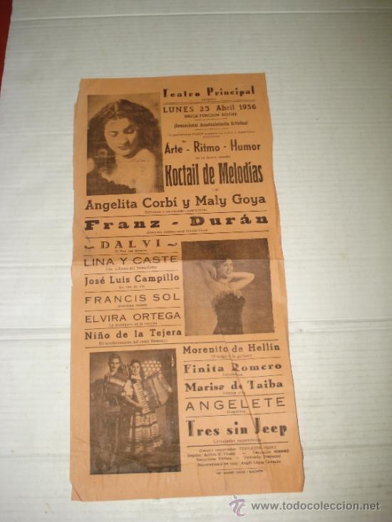 FOLLETO ESPECTACULO ** KOCTAIL DE MELODÍAS ** CON ANGELITA CORBÍ TEATRO PRINCIPAL DE BAÑERES 1956 (Coleccionismo - Carteles Gran Formato - Carteles Circo, Magia y Espectáculos)