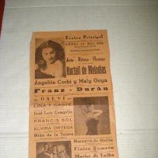 Affiches Spectacles: FOLLETO ESPECTACULO ** KOCTAIL DE MELODÍAS ** CON ANGELITA CORBÍ TEATRO PRINCIPAL DE BAÑERES 1956. Lote 38869346