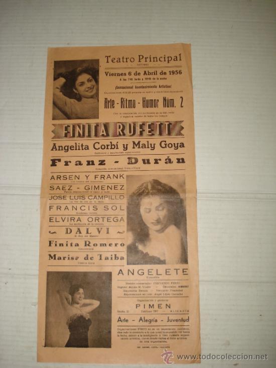 FOLLETO ESPECTACULO ** ARTE RITMO HUMOR ** CON FINITA RUFETT TEATRO PRINCIPAL DE BAÑERES 1956 (Coleccionismo - Carteles Gran Formato - Carteles Circo, Magia y Espectáculos)