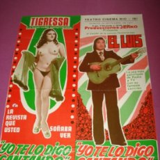 Carteles Espectáculos: FOLLETO ESPECTACULO *YO TE LO DIGO CANTANDO* CON EL LUIS EN TEATRO CINEMA RIO IBI 1977. Lote 38904553