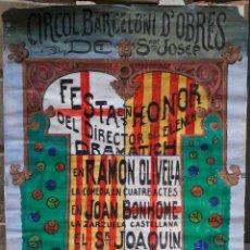 Carteles Espectáculos: GRAN CARTEL ORIGINAL ACUARELA SOBRE PAPEL, AÑO 1919, CÍRCOL BARCELONÍ D'OBRES, FESTA A R. OLIVELLA.. Lote 39412392