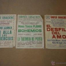 Carteles Espectáculos: LOTE DE 3 CARTELES DE ORFEÓ GRACIENC, BARCELONA. 1959-60 . Lote 39599510