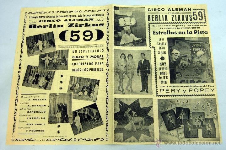 PROGRAMA CIRCO ALEMÁN BERLÍN ZIRKUS 59 CUESTA CALESAS MADRID PERY Y POPEY (Coleccionismo - Carteles Gran Formato - Carteles Circo, Magia y Espectáculos)