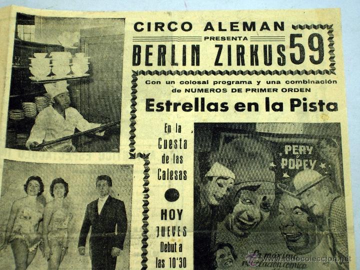 Carteles Espectáculos: Programa circo alemán Berlín Zirkus 59 Cuesta Calesas Madrid Pery y Popey - Foto 2 - 40821907