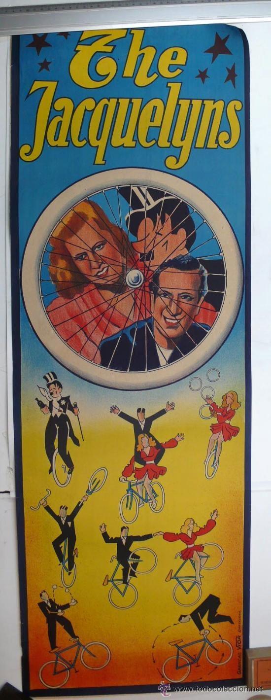 CARTEL DE CIRCO-THE JACQUELYNS-PERFECTO ESTADO-AÑOS 20/30-GRAFICAS VIOR-99X34CM (Coleccionismo - Carteles Gran Formato - Carteles Circo, Magia y Espectáculos)