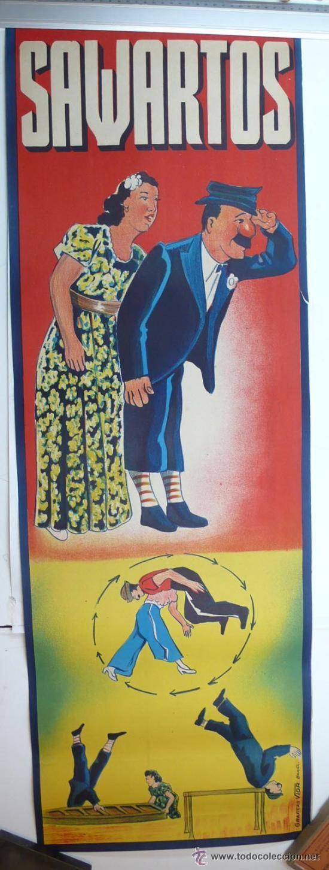 CARTEL DE CIRCO-SAWARTOS-PERFECTO ESTADO-AÑOS 20/30-GRAFICAS VIOR-99X34CM (Coleccionismo - Carteles Gran Formato - Carteles Circo, Magia y Espectáculos)