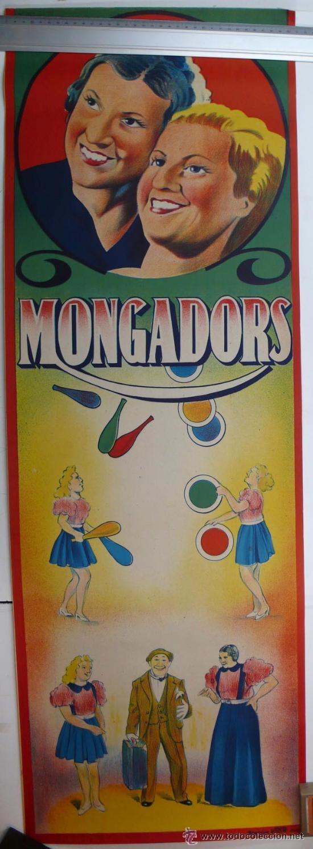 CARTEL DE CIRCO-MONGADORS-PERFECTO ESTADO-AÑOS 20/30-GRAFICAS VIOR-99X34CM (Coleccionismo - Carteles Gran Formato - Carteles Circo, Magia y Espectáculos)