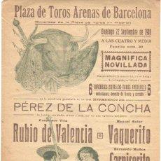 Carteles Espectáculos: CARTEL BANDERILLA PLAZA TOROS ARENAS DE BARCELONA 1918 RUBIO DE VALENCIA - VAQUERITO CARNICERITO . Lote 41990311