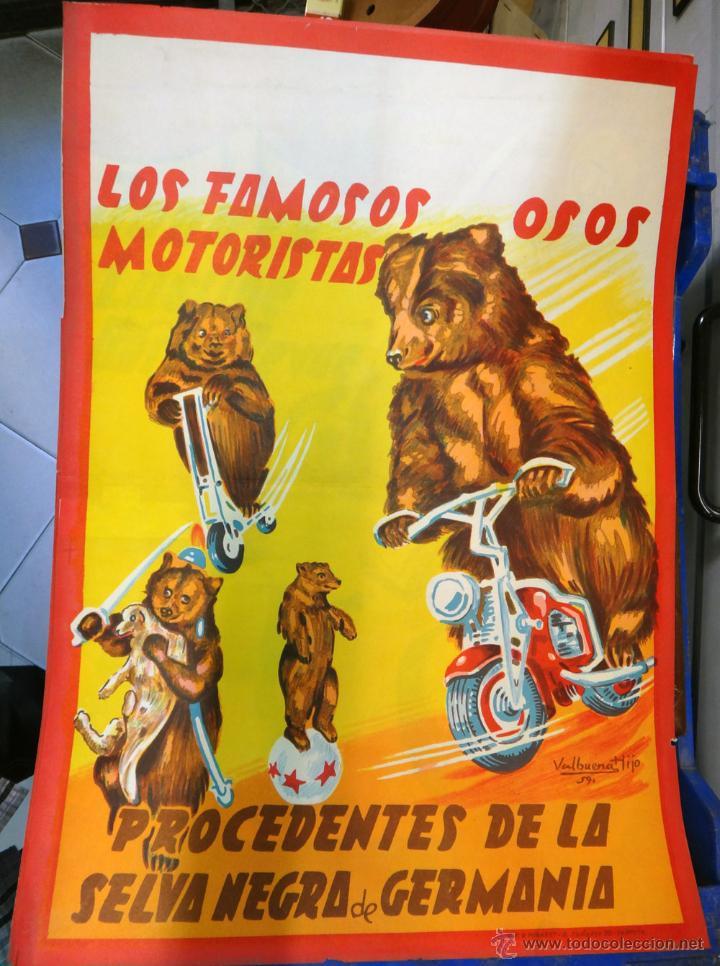 CARTEL CIRCO LOS OSOS MOTORISTAS, LITOGRAFIA 1959 ,ORIGINAL (Coleccionismo - Carteles Gran Formato - Carteles Circo, Magia y Espectáculos)