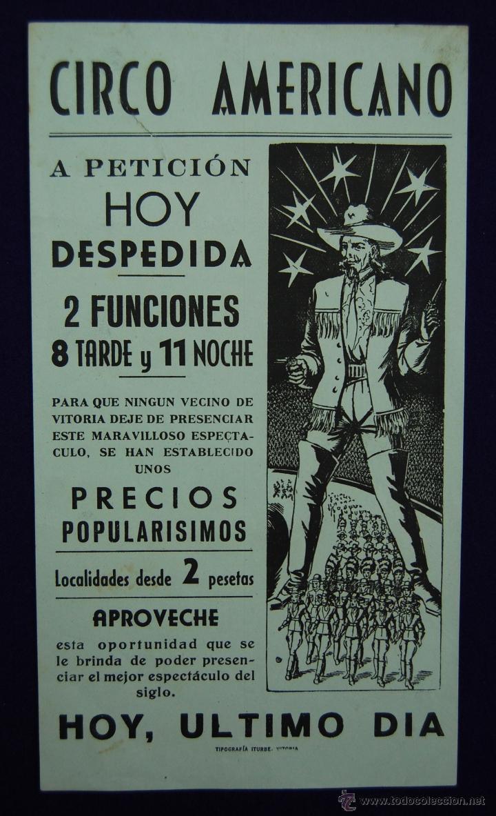 CARTEL DEL CIRCO AMERICANO EN VITORIA. AÑOS 50. (Coleccionismo - Carteles Gran Formato - Carteles Circo, Magia y Espectáculos)