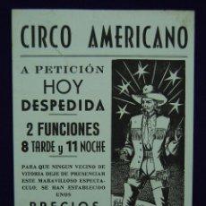 Carteles Espectáculos: CARTEL DEL CIRCO AMERICANO EN VITORIA. AÑOS 50.. Lote 43554761
