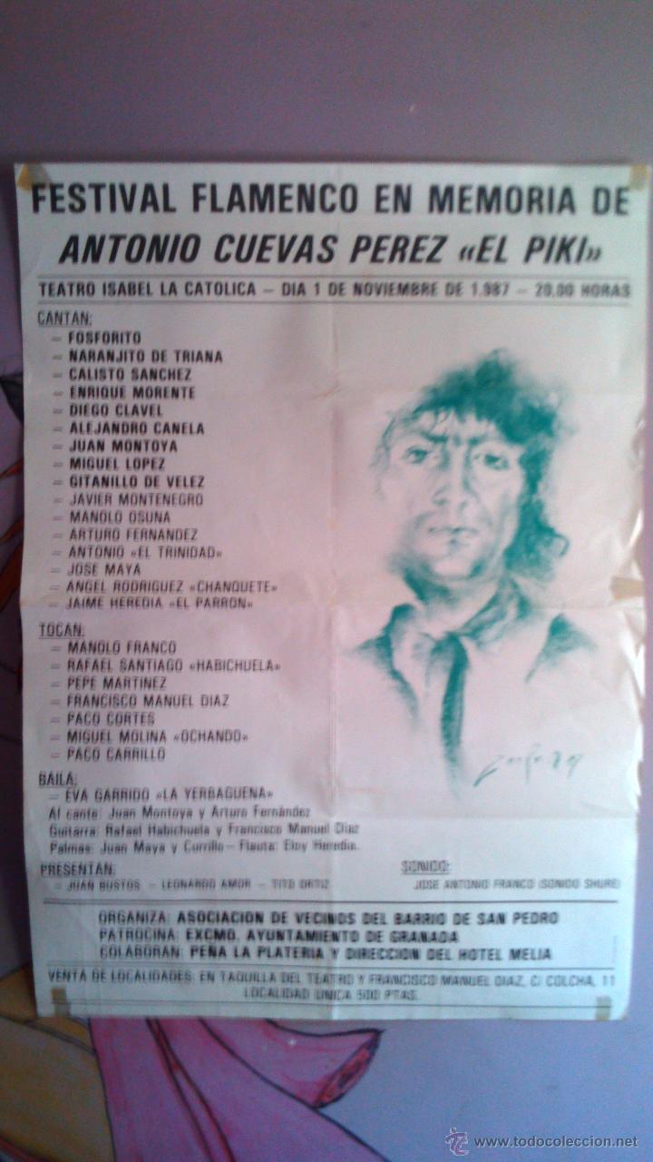 FESTIVAL FLAMENCO EN MEMORIA DE ANTONIO CUEVAS (PIKI) 1987 GRANADA CON ENRIQUE MORENTE (Coleccionismo - Carteles Gran Formato - Carteles Circo, Magia y Espectáculos)