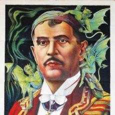 Carteles Espectáculos: PRECIOSA LITOGRAFIA CARTEL DE MAGIA DEL PROFESOR BENEVOL AÑOS 1890 APROX ILUSIONISMO ESPIRITISMO. Lote 45176040