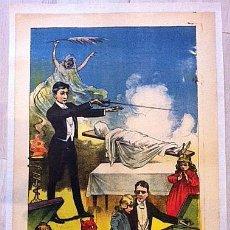 Carteles Espectáculos: PRECIOSA LITOGRAFIA CARTEL MAGIA LEVITACION DIABLOS 1890 APROX ILUSIONISMO POSTER ESPIRITISMO. Lote 45176372