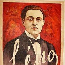 Carteles Espectáculos: PRECIOSA LITOGRAFIA CARTEL MAGIA PROFESOR LENO ESPIRITISMO 1890 APROX ILUSIONISMO. Lote 45248454