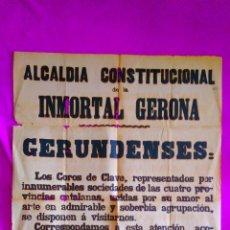 Carteles Espectáculos: CARTEL ORIGINAL, INMORTAL GERONA, ASOCIACION EUTERPENSE DE LOS COROS DE CLAVE 1903. Lote 45544603