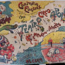 Carteles Espectáculos: ANTIGUO CARTEL CIRCO, TEATRO APOLO , 1900 A 1901, ILUSTRA PASTOR , VALENCIA , ORIGINAL. Lote 45726126