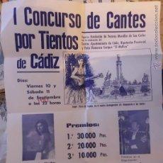 Carteles Espectáculos: CADIZ I CONCURSO DE CANTES POR TIENTOS EN CADIZ 1982. Lote 46028641