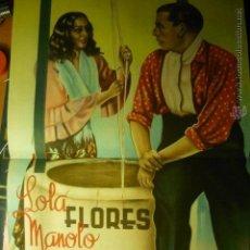 Carteles Espectáculos: CARTEL 4O X 3O APROX. ESPECTACULO ZAMBRA 1946 LOLA FLORES-MANOLO CARACOL -LITOGRAFIA ORTEGA-VALENCIA. Lote 46690321