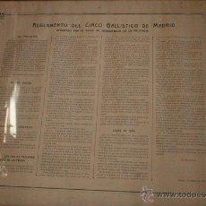 Carteles Espectáculos: CARTEL ENMARCADO. REGLAMENTO DEL CIRCO GALLÍSTICO DE MADRID, APROBADO POR EL GOBERNADOR. 1894.. Lote 46887892