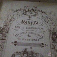 Carteles Espectáculos: BOLETÍN BIBLIOGRAFICO SOBRE MADRID. Lote 46951093