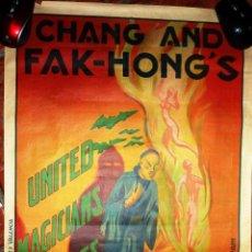 Carteles Espectáculos: BONITO CARTEL DE MAGIA CHANG AND FAK - HONG ' S . PRESENTA HARA KIRI . BARCELONA LIT MIRABET 43/60 . Lote 47437210