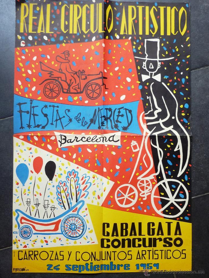 GRAN CARTEL REAL CIRCULO ARTISTICO FIESTAS DE LA MERCED 1959 . BARCELONA FESTES MERCÈ 94/60 CM (Coleccionismo - Carteles Gran Formato - Carteles Circo, Magia y Espectáculos)