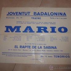 Carteles Espectáculos: ANTIGUO CARTEL DE TEATRO DE BADALONA, AÑOS 30 REPUBLICA.. Lote 48726098
