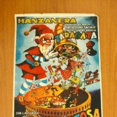 Carteles Espectáculos: MANZANERA - ESPECTÁCULO CÓMICO TAURINO MUSICAL ZARAGATA - BANDA LA REVOLTOSA, CARTEL TAMAÑO 42X74. Lote 49305446