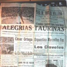 Carteles Espectáculos: CARTEL PROGRAMA ALEGRIAS TAURINAS PLAZA TOROS VILLENA 1956 BAILARIN ATOMICO COMICO TAURINO. Lote 49387613