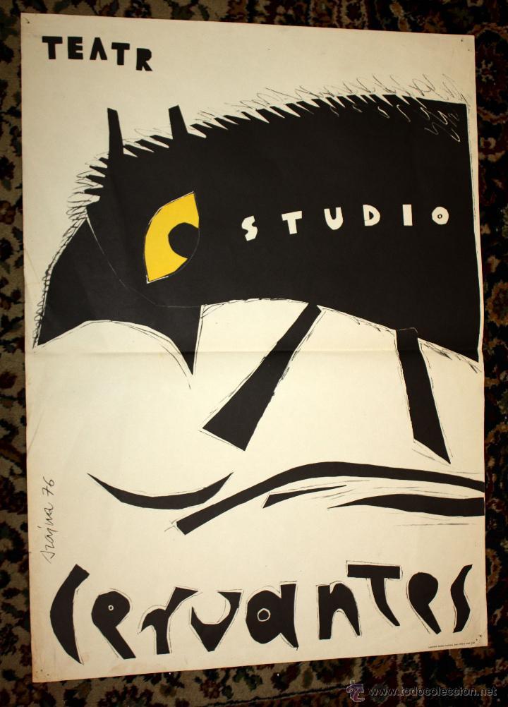 CARTEL ILUSTRADO POR JOSEF SZAJNA (RZESZÓW, 1922 - VARSÒVIA, 2008) PARA EL TEATRO STUDIO. CERVANTES (Coleccionismo - Carteles Gran Formato - Carteles Circo, Magia y Espectáculos)