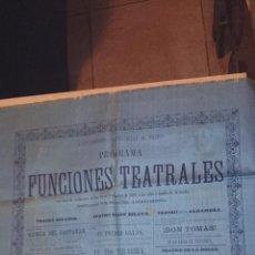 Carteles Espectáculos: 1879 - CARTEL EN SEDA - MADRID - TEATRO - 66X52 CM.. Lote 49739753