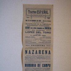 Carteles Espectáculos: CARTEL TEATRO ESPAÑOL DE FERNÁN NUÑEZ(CORDOBA). MEDIDAS 31X11 CM. AÑO 1939. Lote 49909422