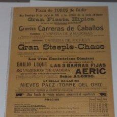 Carteles Espectáculos: PLAZA DE TOROS DE CADIZ. 1903. CARRERA DE CABALLOS. COMICOS, BAILARINAS. NOTA DE PRECIOS. Lote 50383858
