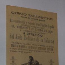 Carteles Espectáculos: CIRCO ECUESTRE. CADIZ. PLAZA MENDEZ NUÑEZ. 1898. FUNCION DE GALA. LEER. Lote 50384749