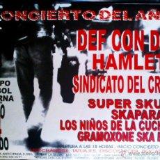 Carteles Espectáculos: CARTEL DE CONCIERTO 1993 . CONCIERTO DEL AÑO EN PATERNA VALENCIA. CON DEF CON DOS HAMLET.ETC.. Lote 52657308