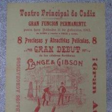 Carteles Espectáculos: EXCEPCIONAL CARTEL DE CÁDIZ,EVENTO DEL SIGLO XIX,RARÍSIMO,INENCONTRABLE,LEAN DESCRIPCIÓN. Lote 50461249