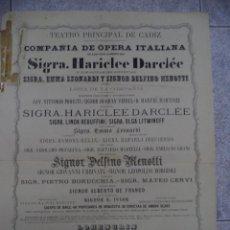 Carteles Espectáculos: EXCEPCIONAL CARTEL DE CÁDIZ,EVENTO DEL SIGLO XIX,RARÍSIMO,INENCONTRABLE,LEAN DESCRIPCIÓN. Lote 50461302