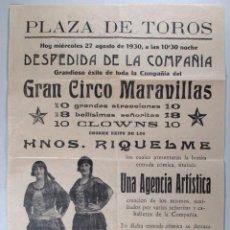 Carteles Espectáculos: CARTEL CIRCO - GRAN CIRCO MARAVILLAS - 1930 - CIRP2. Lote 50543972