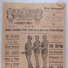 Carteles Espectáculos: CARTEL CIRCO - GRAN CIRCO MARAVILLAS - GANDIA - AÑOS 20 - 30 - CIRP11. Lote 50544348