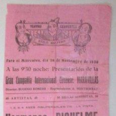 Carteles Espectáculos: CARTEL CIRCO - GRAN CIRCO MARAVILLAS - ONTENIENTE - 1930 - CIRP18. Lote 51032881