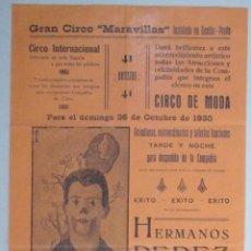 Carteles Espectáculos: CARTEL CIRCO - GRAN CIRCO MARAVILLAS - GANDÍA - 1930 - CIRP20. Lote 51032964